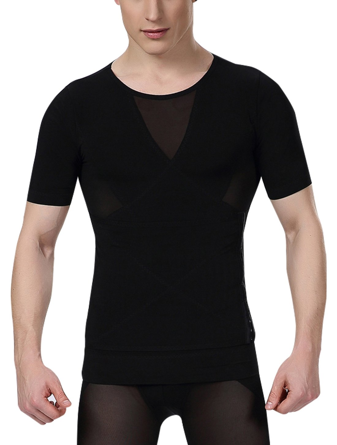 Aieoe Men's Compression Shirt to Hide Gynecomastia Moobs Chest Slimming Body Shaper Undershirt Size XL Black