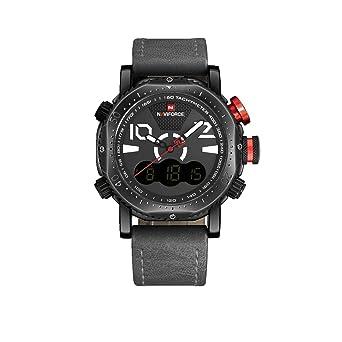 Naviforce reloj de Hombre Clásico Deporte Militar analógico Digital reloj de cuarzo con correa de cuero
