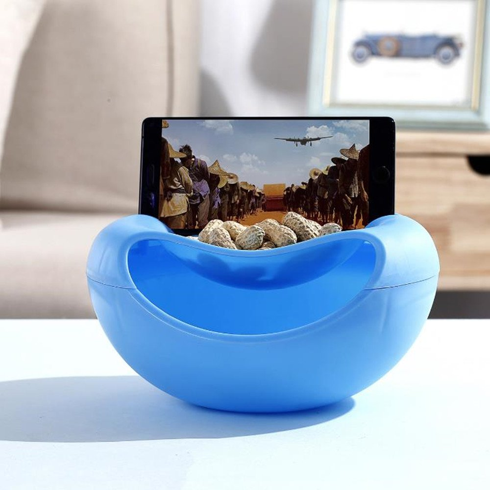 YJJ Double Dish Smiley Nut Bowl, Pistachios Shell Storage Tray, Storage Fruit Box, Melon Seeds Plate with Cellphone Holder (Blue)