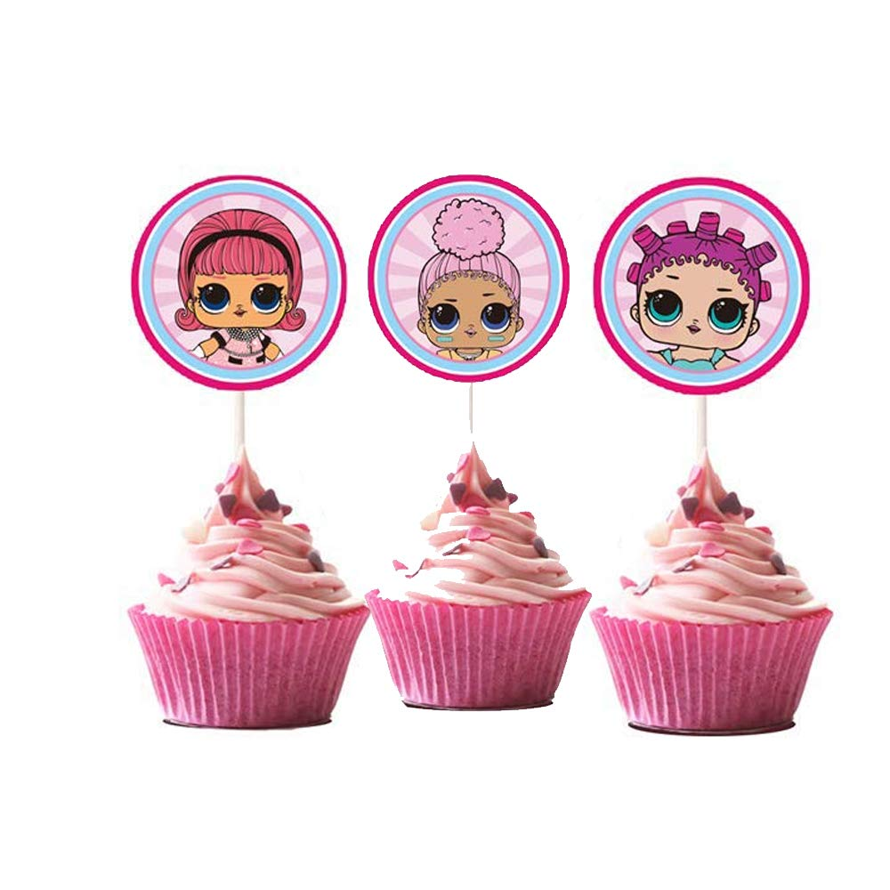LOL Cupcake Toppers Girls Topper Set, Decorations for 1st Birthday Theme Party - 3 Count