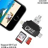 Mobizmo 4 in 1 OTG Card Reader Four ports : lightning + Type C + Micro USB + USB Card reader - Like Iflash, Idisk for Iphone, Ipad, Micro USB, SDHC lightning flash drive. (Mobizmo Pro Plus)