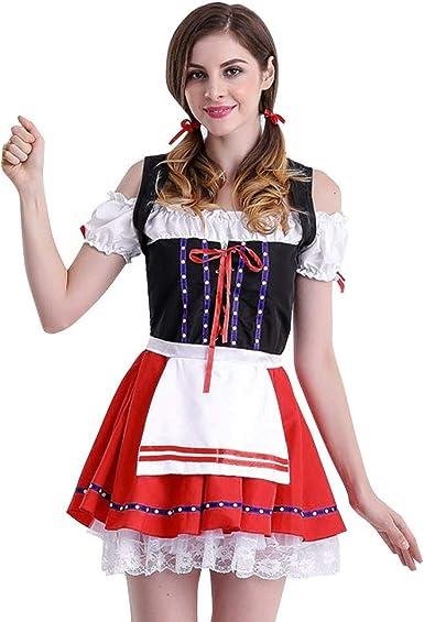 Costume da Donna Bavarese Oktoberfest Birra Festa Dirndl Carnevale Halloween nuo