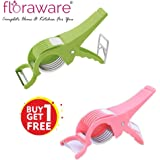 Floraware Veg Cutter Sharp Stainless Steel 5 Blade Vegetable Cutter with Peeler 2 in 1