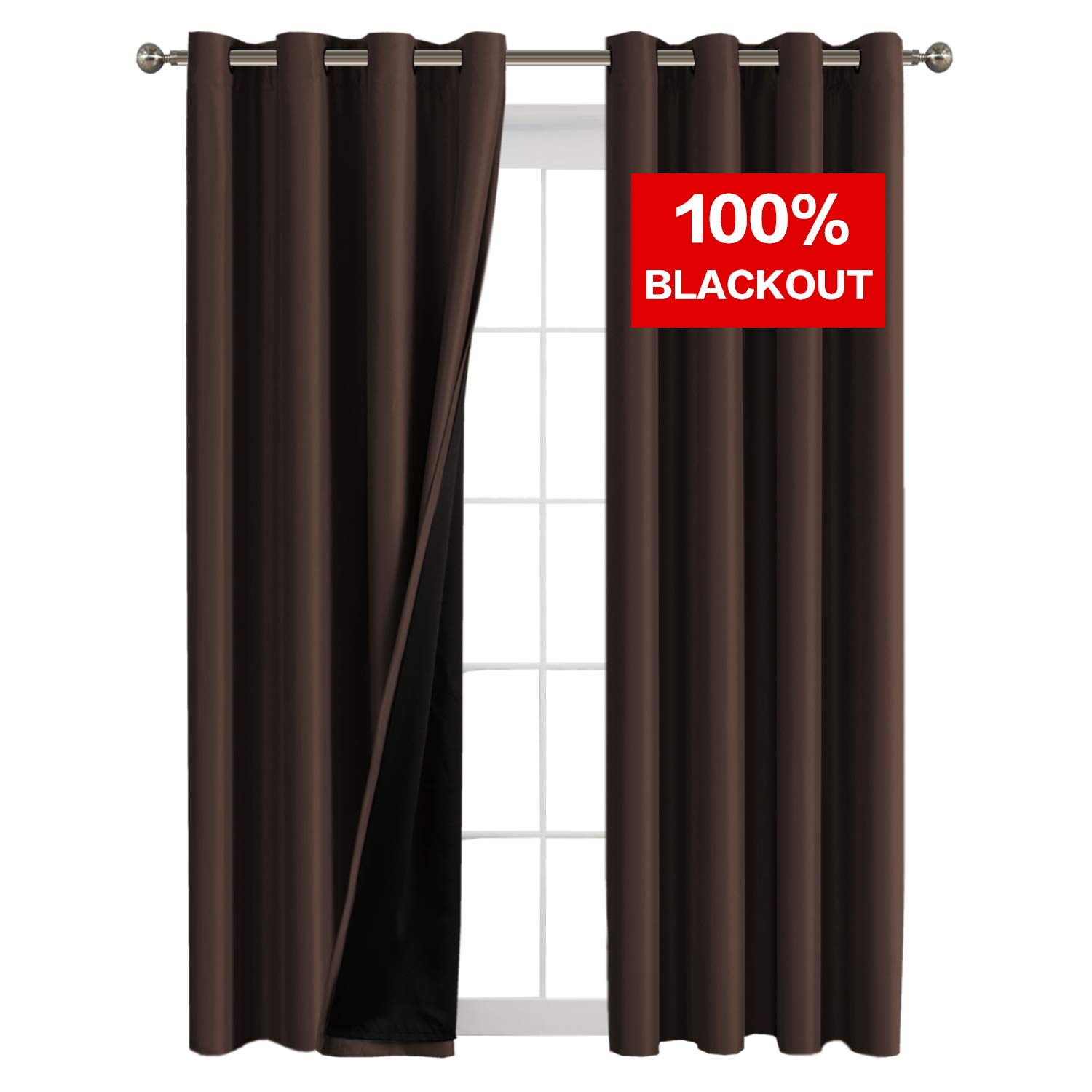 Flamingo P Full Blackout Brown Curtains Faux Silk Satin with Black Liner Thermal Insulated Window Treatment Panels, Grommet Top (52 x 108 Inch, Set of 2)