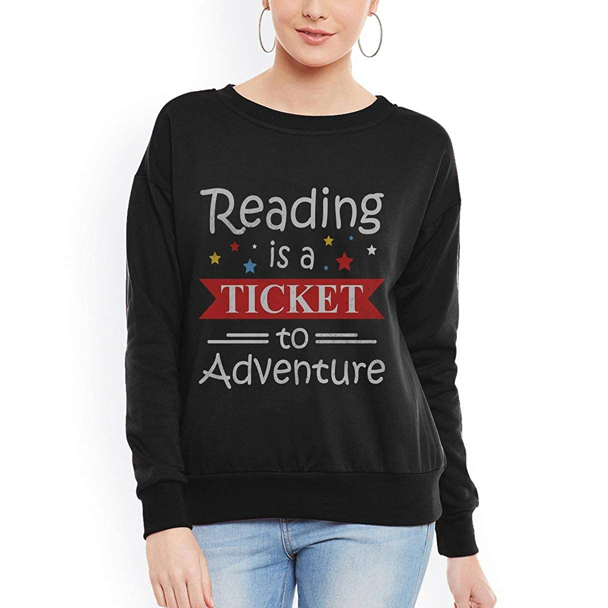 Doryti Reading is a Ticket to Adventure Book Reading Women Sweatshirt tee