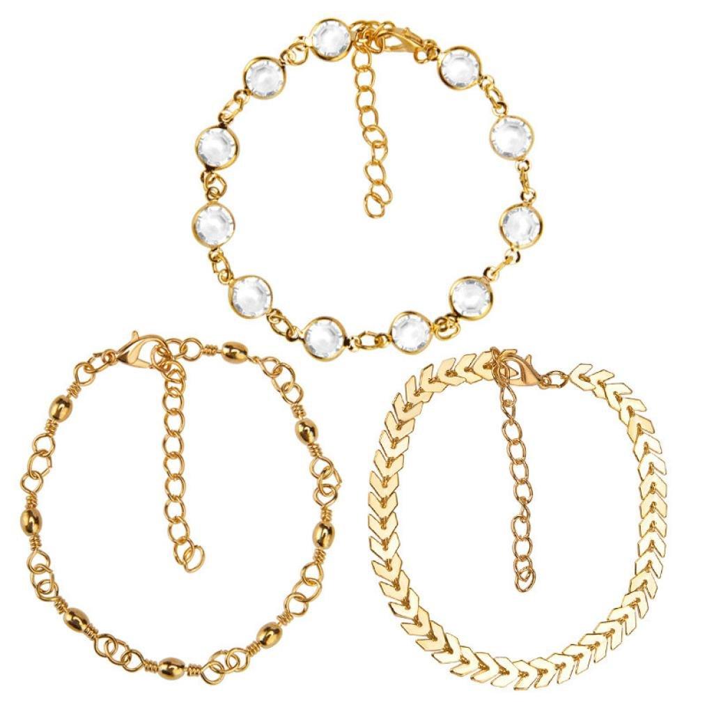 Paolian Femme 3Pcs Bracelets de cheville Mode Cheville de Pied Ajustable Créatif Accessoires 123 SB-111