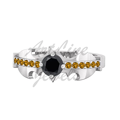 82a28ceef6 Artline gioielli 0.55 ct Diamond & citrino Batman design anello di  fidanzamento placcato in oro bianco