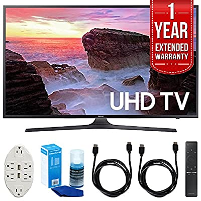 "Samsung UN43MU6300 43"" 4K Ultra HD Smart LED TV (2017 Model) with 1 Year Extended Warranty + Accessories Bundle"