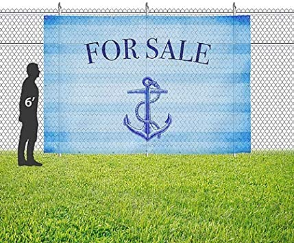 for Sale 9x6 CGSignLab Nautical Stripes Wind-Resistant Outdoor Mesh Vinyl Banner