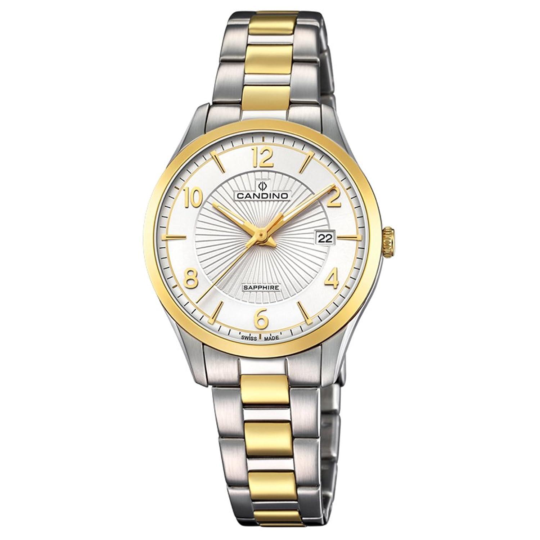 Candino Armbanduhr fÜr Damen Saphir analog Elegant mit Edelstahl-Armband silber gold Quarz-Uhr UC4632-1