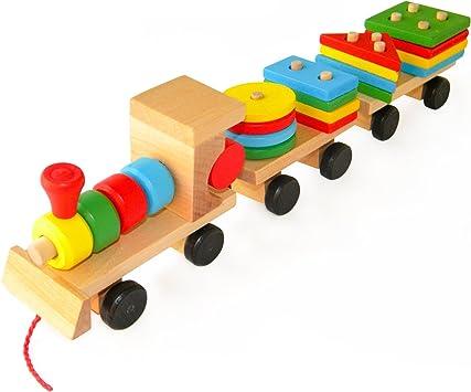 authentique Nouveaux produits Vente chaude 2019 Boxiki Kids Train Jouet en Bois Blocs à empiler. Jouets ...