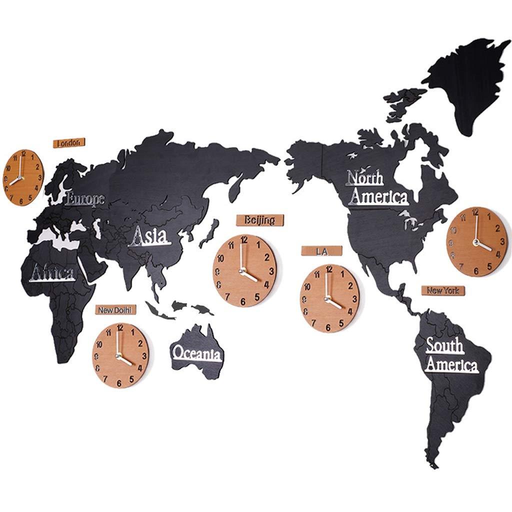Wanduhrer Yhz@ Europäische Weltkarte Stille Persönlichkeit Wohnzimmer Schlafzimmer Wand Dekoration Innen Dekoration Wandaufkleber, Batteriebetrieb (Farbe : Black 2, größe : 180 * 100cm)