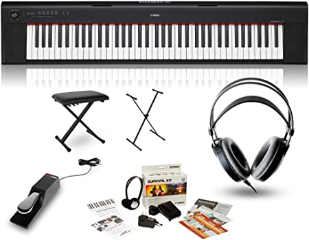 Yamaha NP32 teclado portátil con auriculares, banco, soporte ...