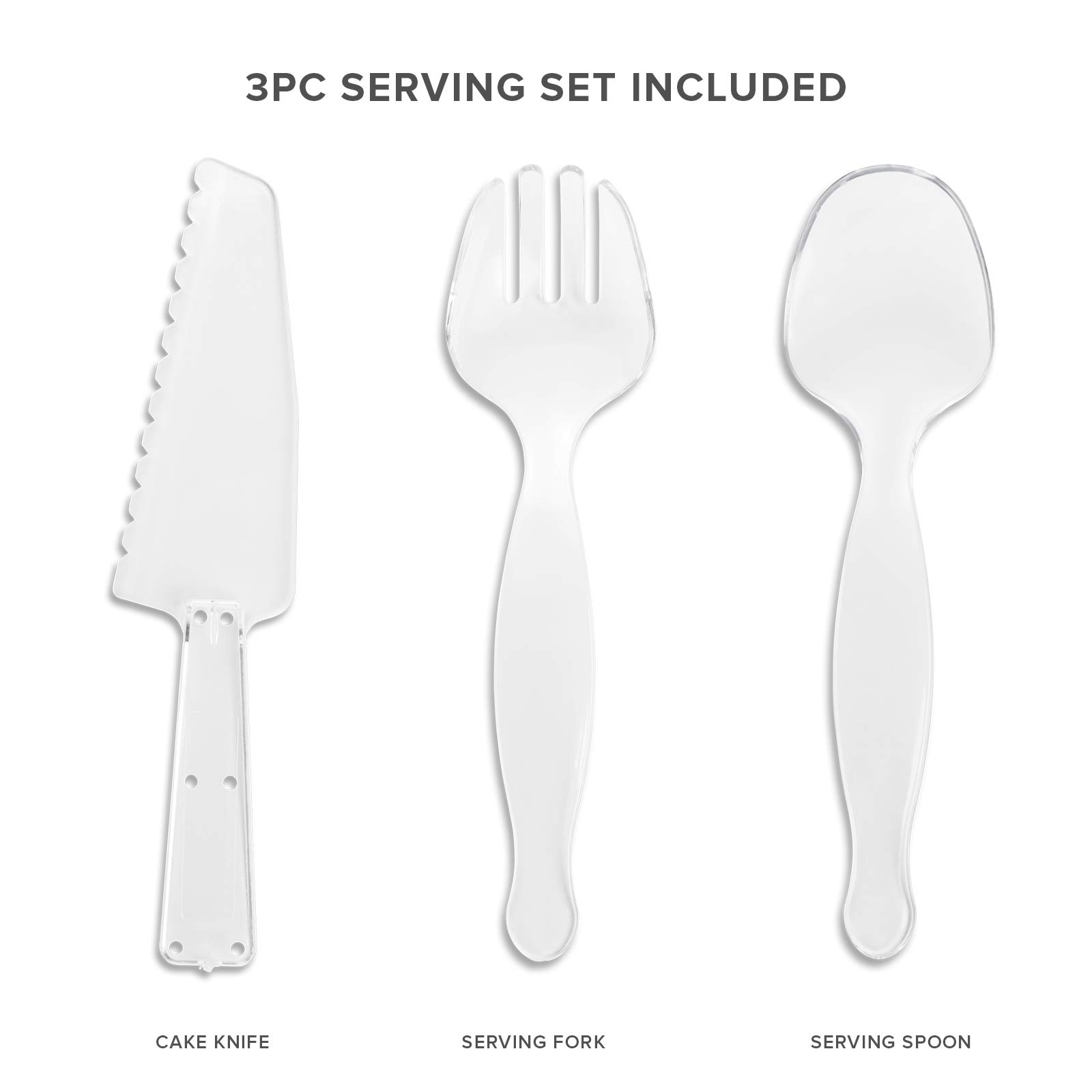 Your Gatherings - 606pc/100 Guest Silver Premium Disposable Wedding Dinnerware Set | 100 Dinner Plates, 100 Dessert Plates, 200 Forks, 100 Spoons, 100 Knives, (100 Guest Set, Silver) by Your Gatherings (Image #3)