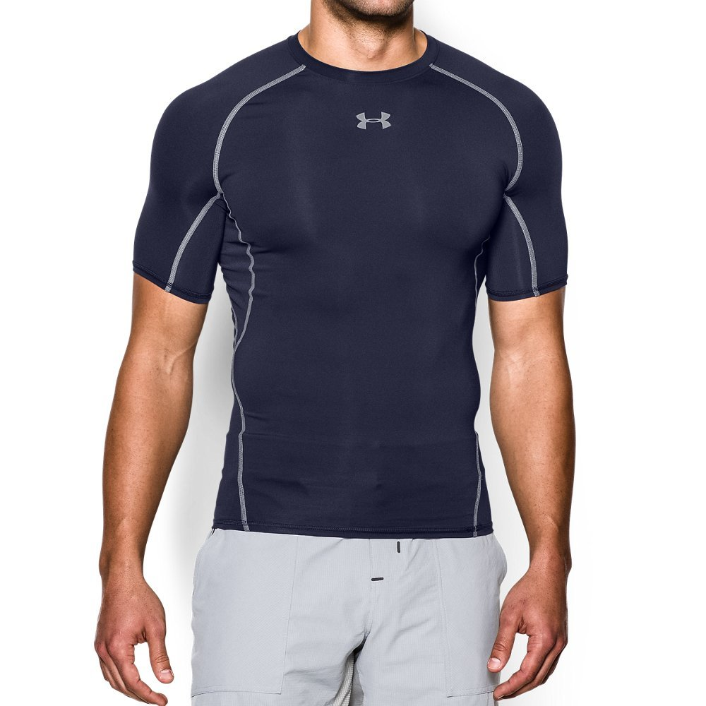 UNDER ARMOUR mens HeatGear Armour Short Sleeve Compression T-Shirt, Midnight Navy (410)/Steel, Medium