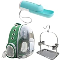 Baosity Parrot Carrier Backpack Bird Travel Bag Space Capsule with 1 Set Perch Pets Water Bottle