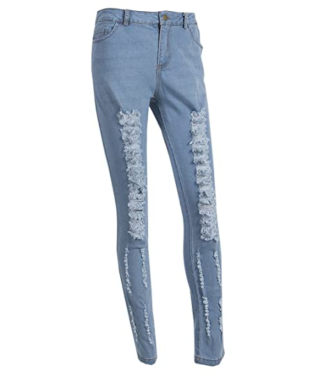 53452a53ce641 USGreatgorgeous Women s High-Waisted Ripped Holes Skinny Jeans Plus Size  (L