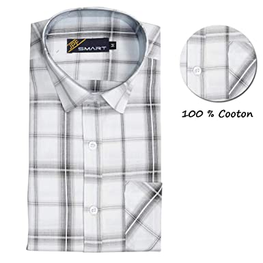 eb90c522b JPF Smart Mens Checkered Cotton Regular Fit Casual Full Sleeve Shirt with Pocket  Colorful Casual Shirt-White with Black: Amazon.in: Clothing & Accessories