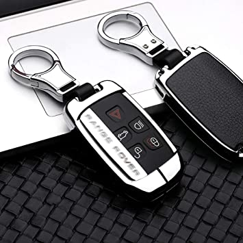 2Pack Silicone carbon fiber pattern keychain for Land Rover and Jaguar fob key cover case fit Range Rover Evoque Velar Discovery LR4 Land Rover Sport XF XJ XE F-PACE F-Type accessories fob shell bag