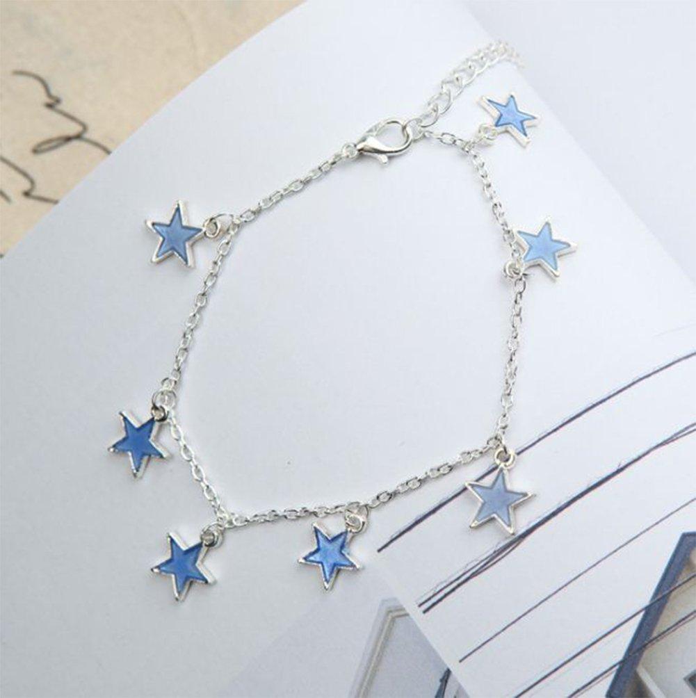 Lumanuby 1/pcs Cheville Cha/îne femme Charm /él/égant Motif /étoile Bleu Bracelet Pieds nus Sandale Fille Pied Bijoux Accessoires Amour Cadeau Argent
