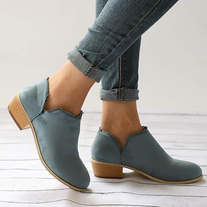 Logobeing Botas de Mujer Punta Redonda Altas Boots Botas de Tobillo Clásico Zapatos Casuales: Amazon.es: Zapatos y complementos