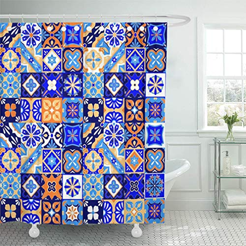 Emvency Shower Curtain 66x72 Inch Home Decor Bathroom Colorful Pottery Mexican Talavera Tiles in Blue Orange and White Yellow Geo Mexico Shower Hooks Set are Included