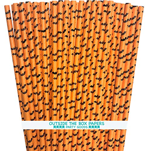 Halloween Paper Straws (Halloween Paper Straws - Orange Black Bat Theme - 100 Pack Outside the Box Papers)
