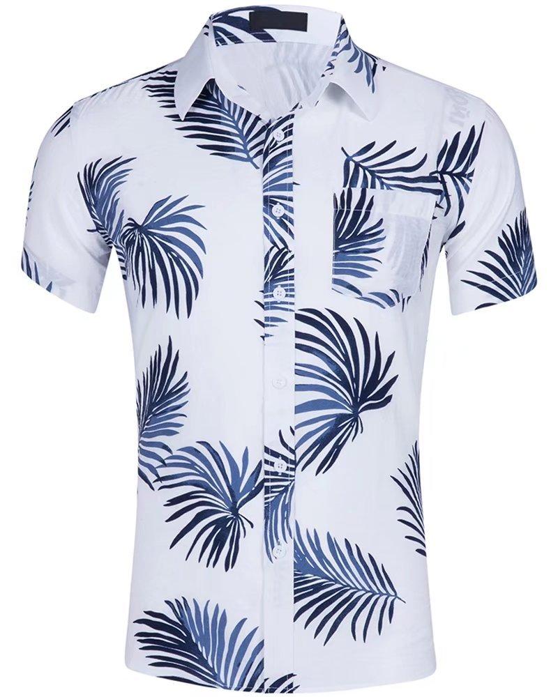 HENGAO Men's Short Sleeves Hawaiian Palm Leaf Printed Button Down Casual Beach Shirt, GD024-12, M
