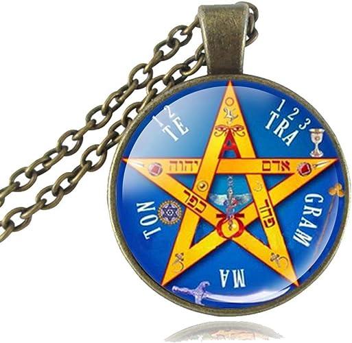 Vintage Pagan Tetragrammaton Pentagramme Pentacle Talisman blé Chaîne Bracelet