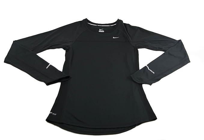 f349b3ab Nike Womens Dri-FIT Miler Long Sleeve Shirt - Black -: Amazon.co.uk:  Clothing