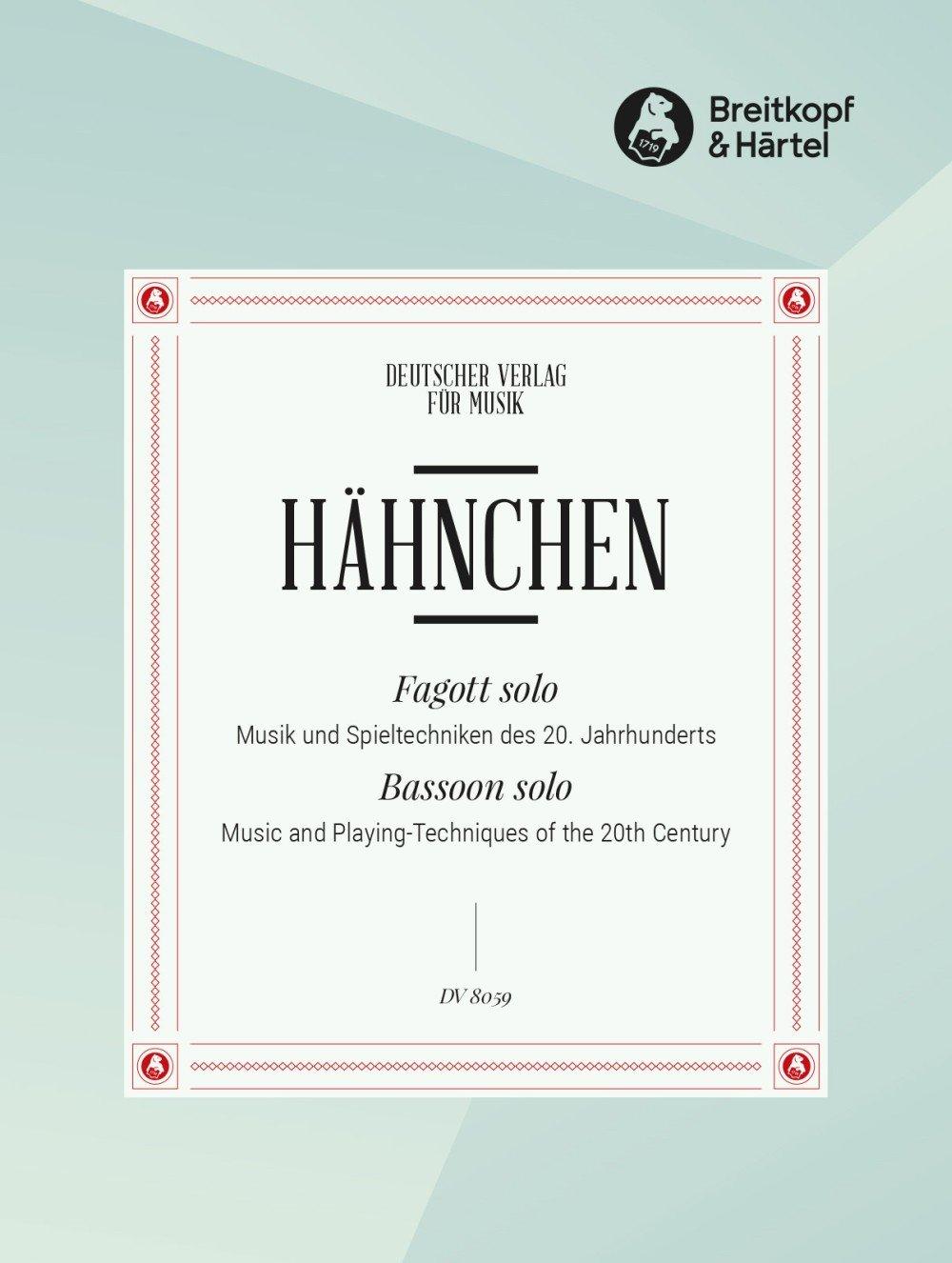 Fagott Solo   Musik Und Spieltechniken Des 20. Jahrhunderts  DV 8059