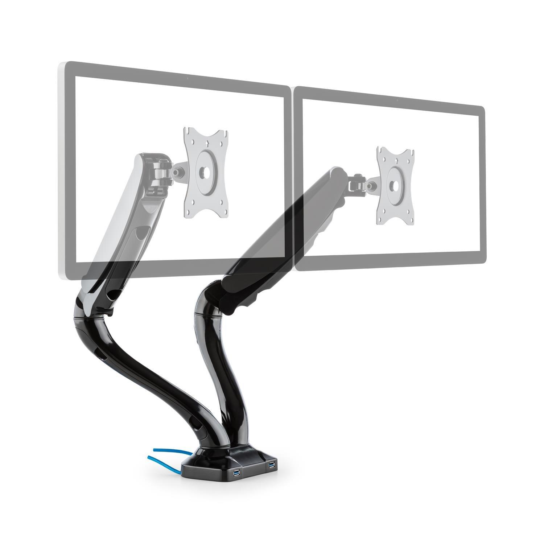 Auna LDT09-C012USB Doppel-Monitor Tischhalterung Displayhalterung LED LCD Monitor 33-68 cm Diagonale, Belastbarkeit max. 6 kg (2 x USB-Anschlüsse, dreh-, neig-, Schwenk- und rotierbar, Montage-Kit)