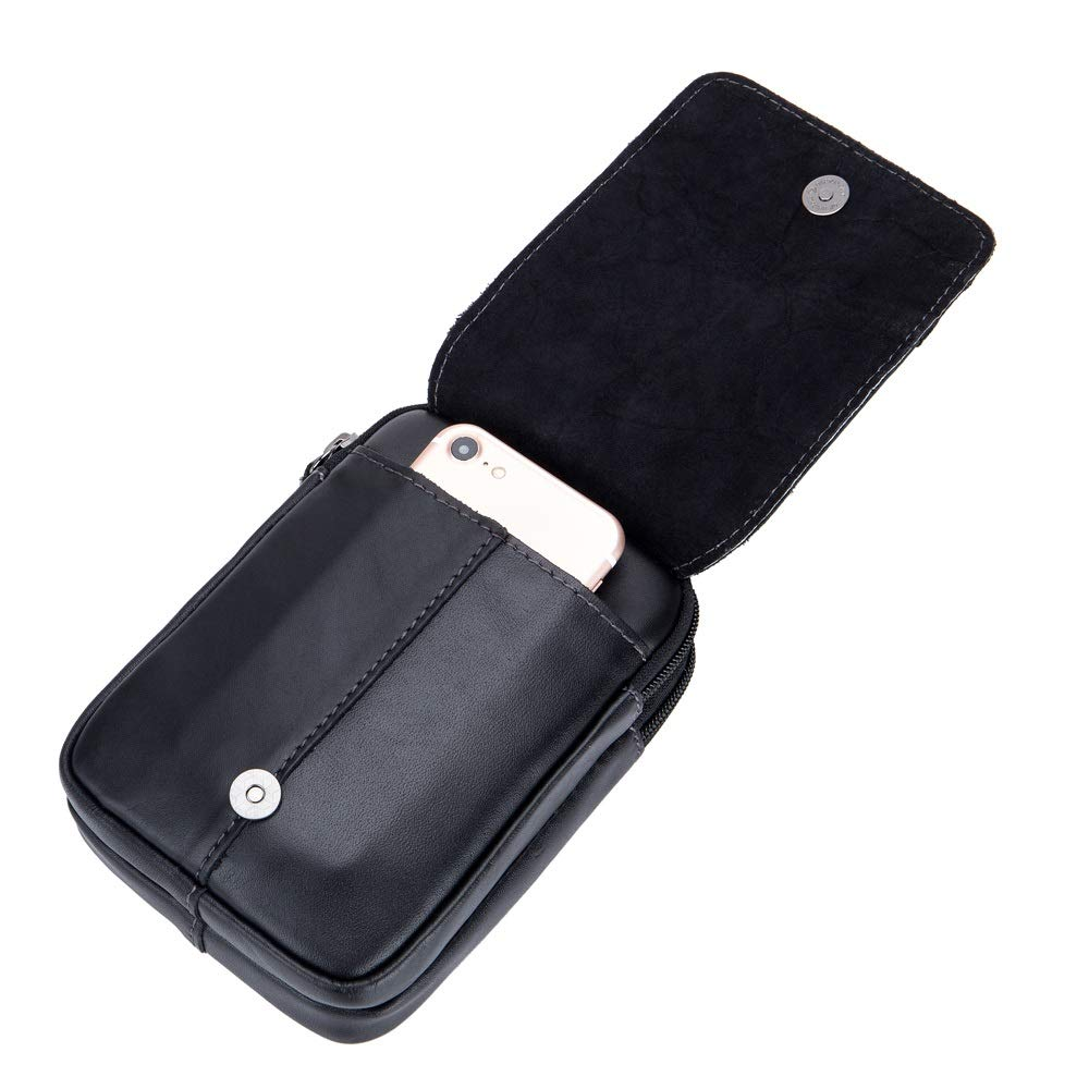 Shuo lan Bolsillos para hombres Bolsa de tel/éfono m/óvil con cintur/ón de cuero Cintur/ón de primera capa Pantalones Bolsa multifunci/ón Slingshot Bag
