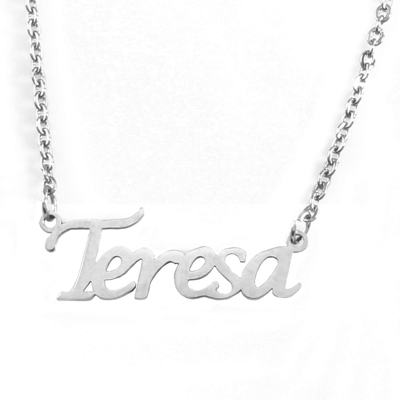 Zacria Teresa Name Necklace Silver Tone