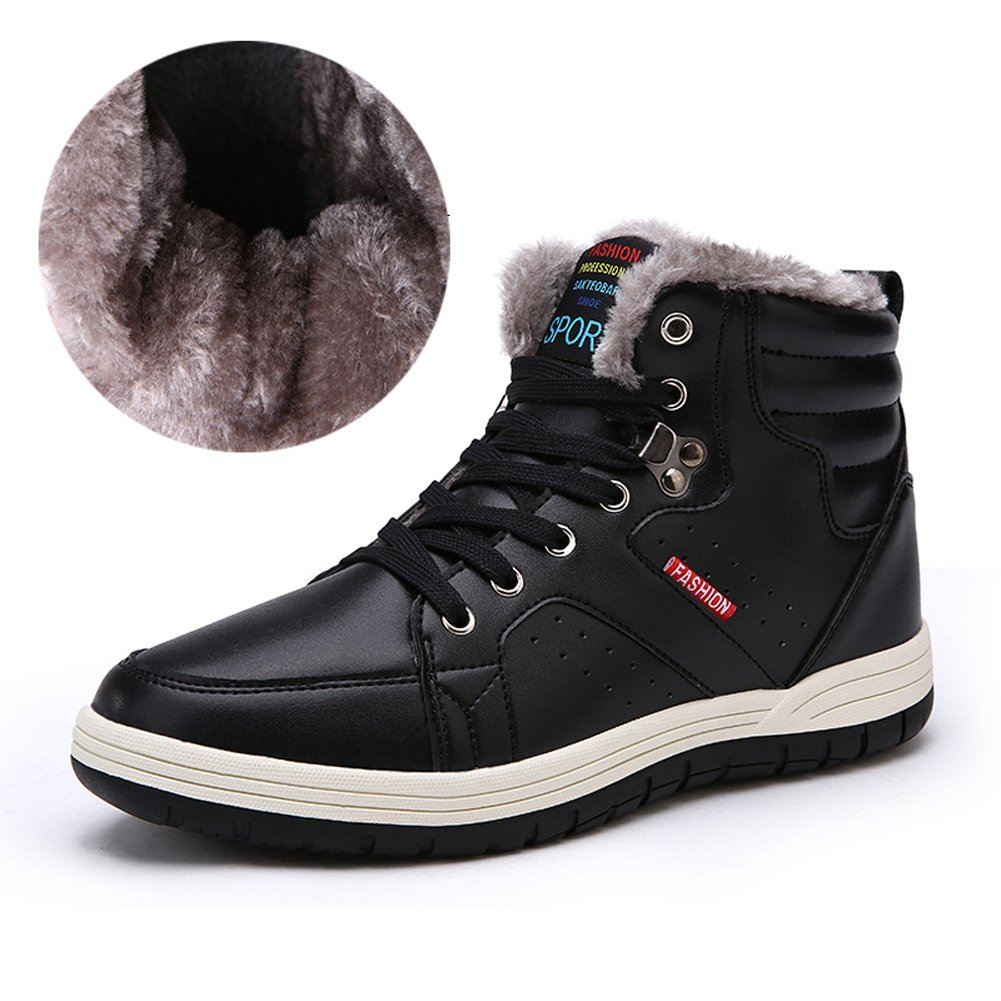 Ceyue Mens Leather Snow Boots Lace up Ankle Sneakers High Top Winter Shoes with Fur Lining(Black 41)