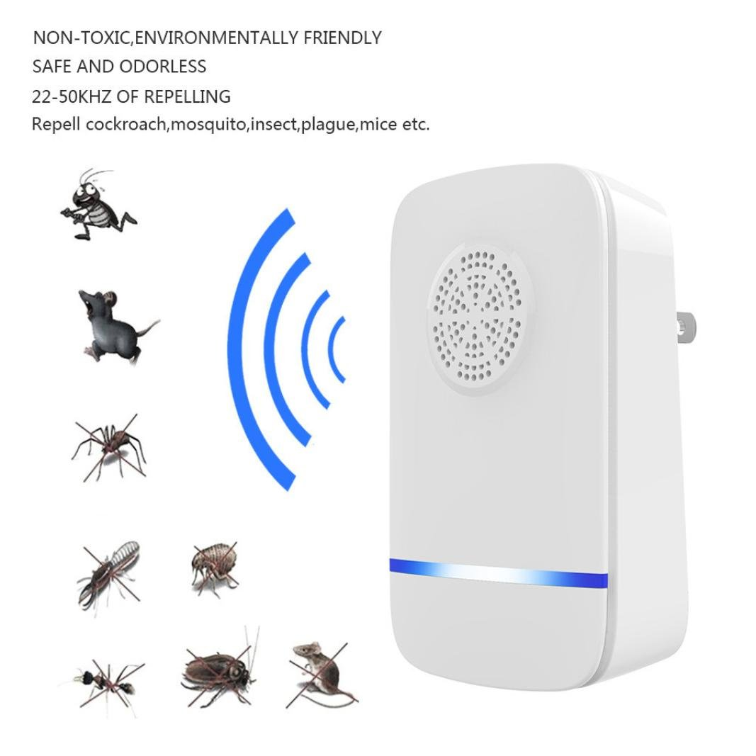 Iusun Mosquito Repeller, Electronic Ultrasonic Mosquito Repellent Mouse Control Environmental Mosquito Killer for Home Office (White)