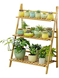 Ufine Bamboo Wood Ladder Plant Stand 3 Tier Foldable Flower Display Shelf  Rack For Home