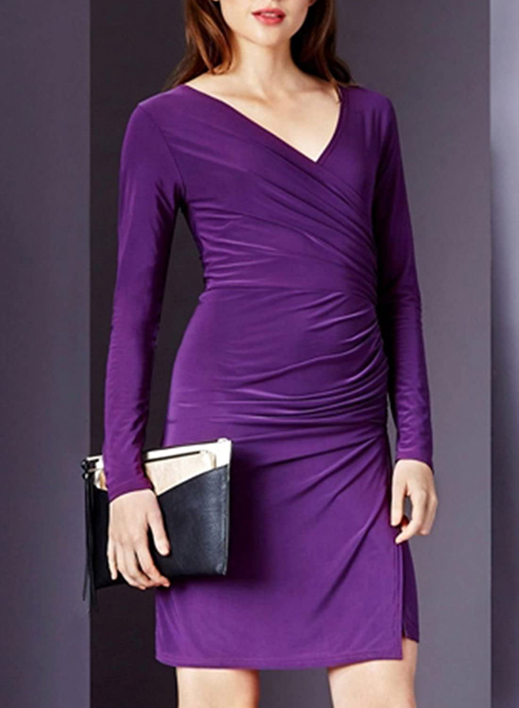 ACHICGIRL Women's Faux Wrap Side Slit Bodycon Dress