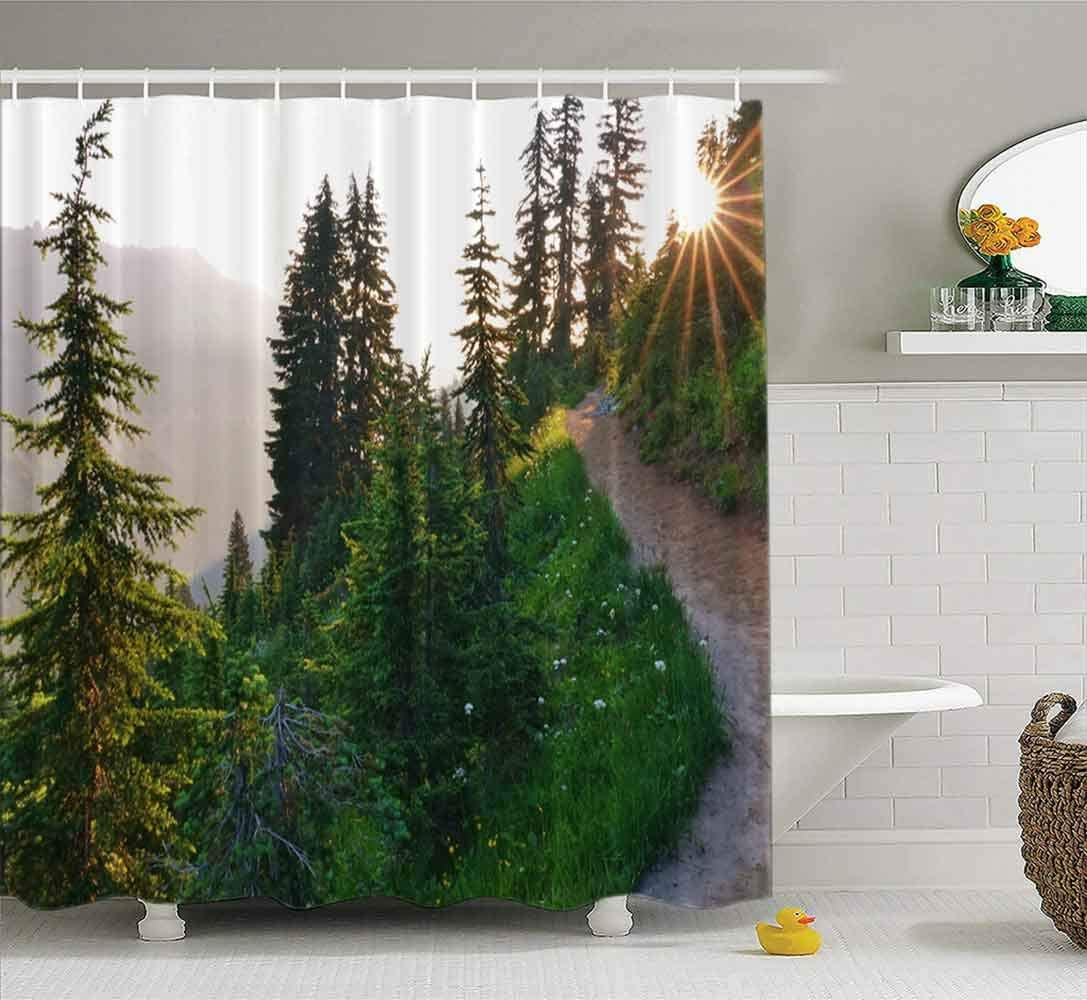 Tooperue Baby Shower Curtain Liner, Shower Curtain for Bathroom with Hooks Beautiful Morning Evergreen Trees Pacific Crest Trail Mount National Park in 72×72 Inch,Eco-Friendly,No Oder,Waterproof