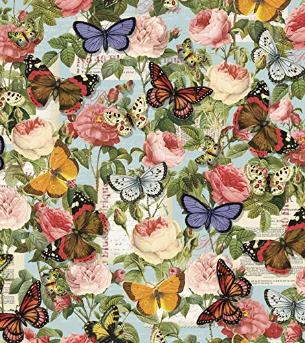 Butterflies & Roses Cotton Fabric by The - Rose Fabric Cotton