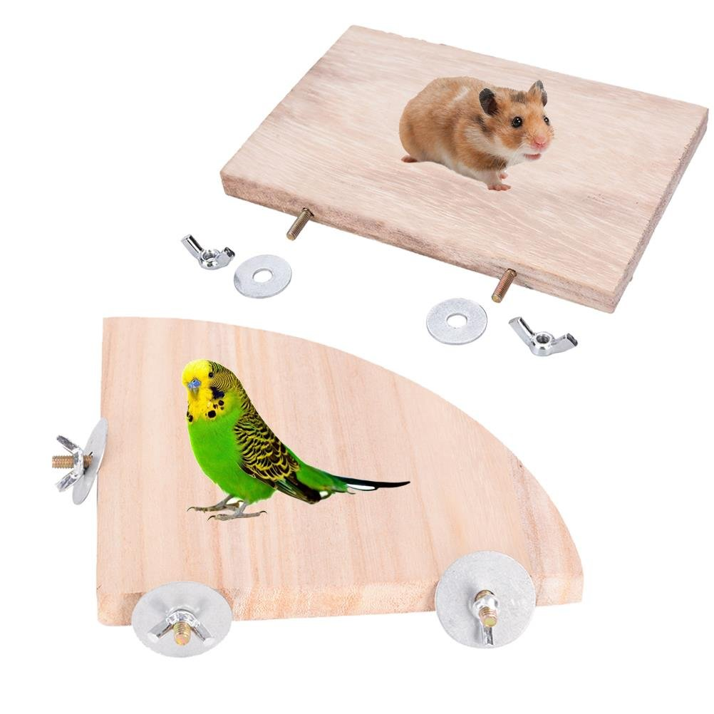 Parred Platform BraveWind 2 PCS Wooden Parred Platform Bird Cage Perches Fan Square Shape Animals Springboard Small Animals Parakeets Platform for Cage