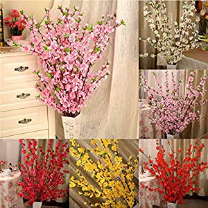 Geminilee Artificial Cherry Spring Plum Peach Blossom Branch Silk Flower Home Wedding Decorative Flowers Plastic Peach Bouquet 65cm,White 5