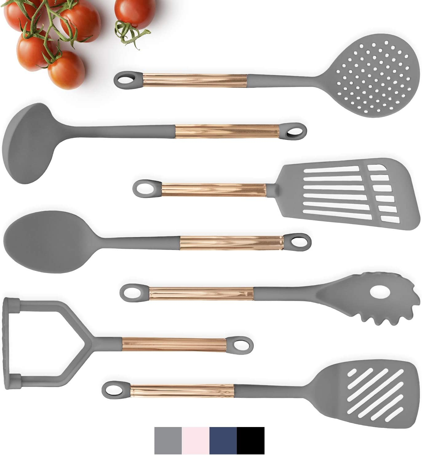 COOK With COLOR 7 Piece Grey Nylon Cooking Utensil Set with Copper Handles - Grey