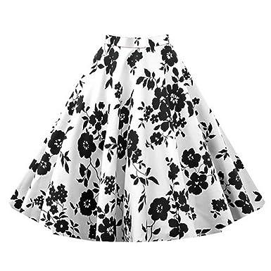 5c7cded3d13a95 Wenyujh Damen Frauen 50er Retro Röcke Rockabilly Röcke A-Linie Floral  Faltenrock Knielang Elegant mit