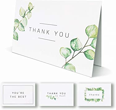 Floral Cutout Black and Off White Free US Shipping Thank You Card Blank Inside