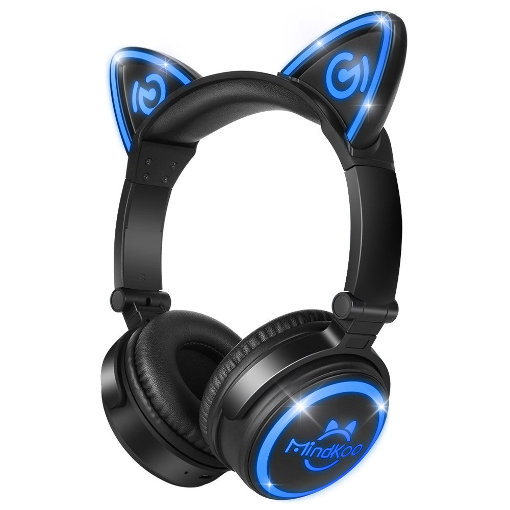 MindKoo Cat Ear Headphones Over Ear - Wireless Bluetooth Headset with LED Lights, 3.5 mm Aux Jack for iPad, iPhone and Computer - Black