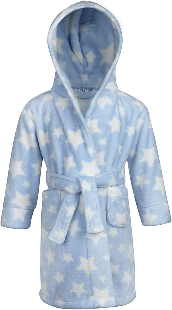 Babytown Baby Velvety Soft Star Print Hooded Dressing Gown Blue
