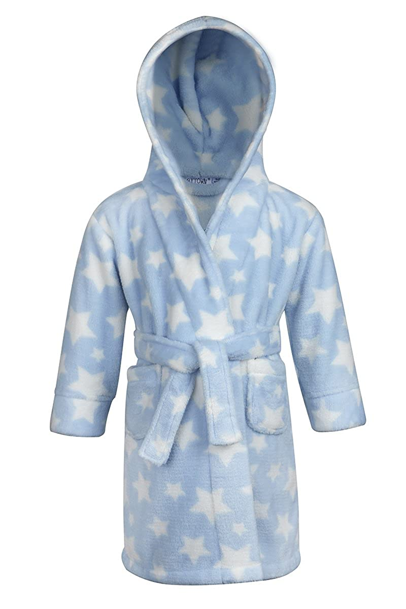 BABY TOWN Babytown Baby Velvety Soft Star Print Hooded Dressing Gown Blue