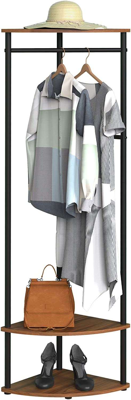 Coat Rack, Entryway Organizer,rustic coat rack,With 3 shelf,4 detachable hooks, Industrial, Steel Frame, for coat,caps and bag,Rustic Brown