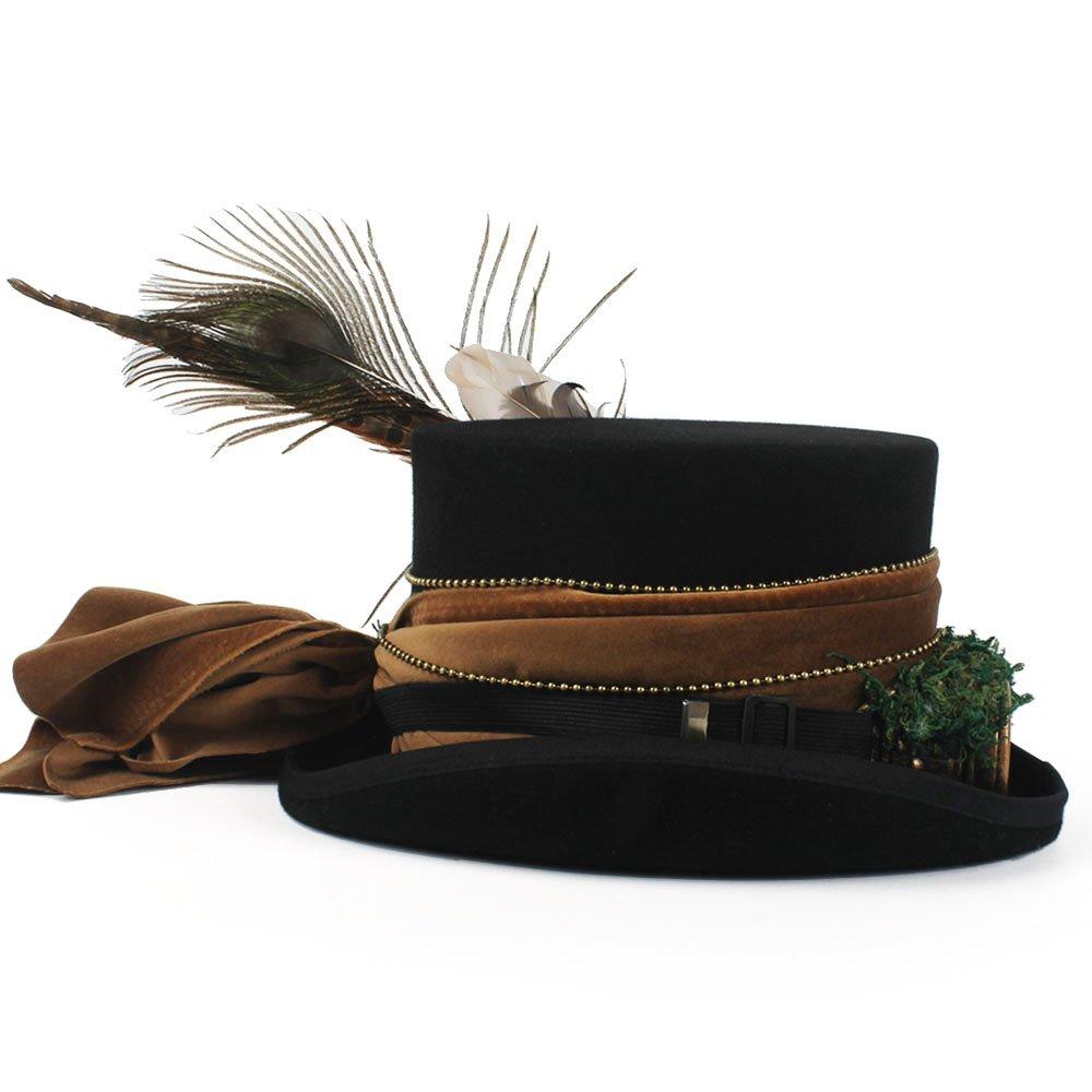 GR Sombrero de Mujer Top Hat 15CM 4 Top de Lana Fedora Steampunk con Trabajo  Hecho a Mano (Color   Black 0a06715dacf